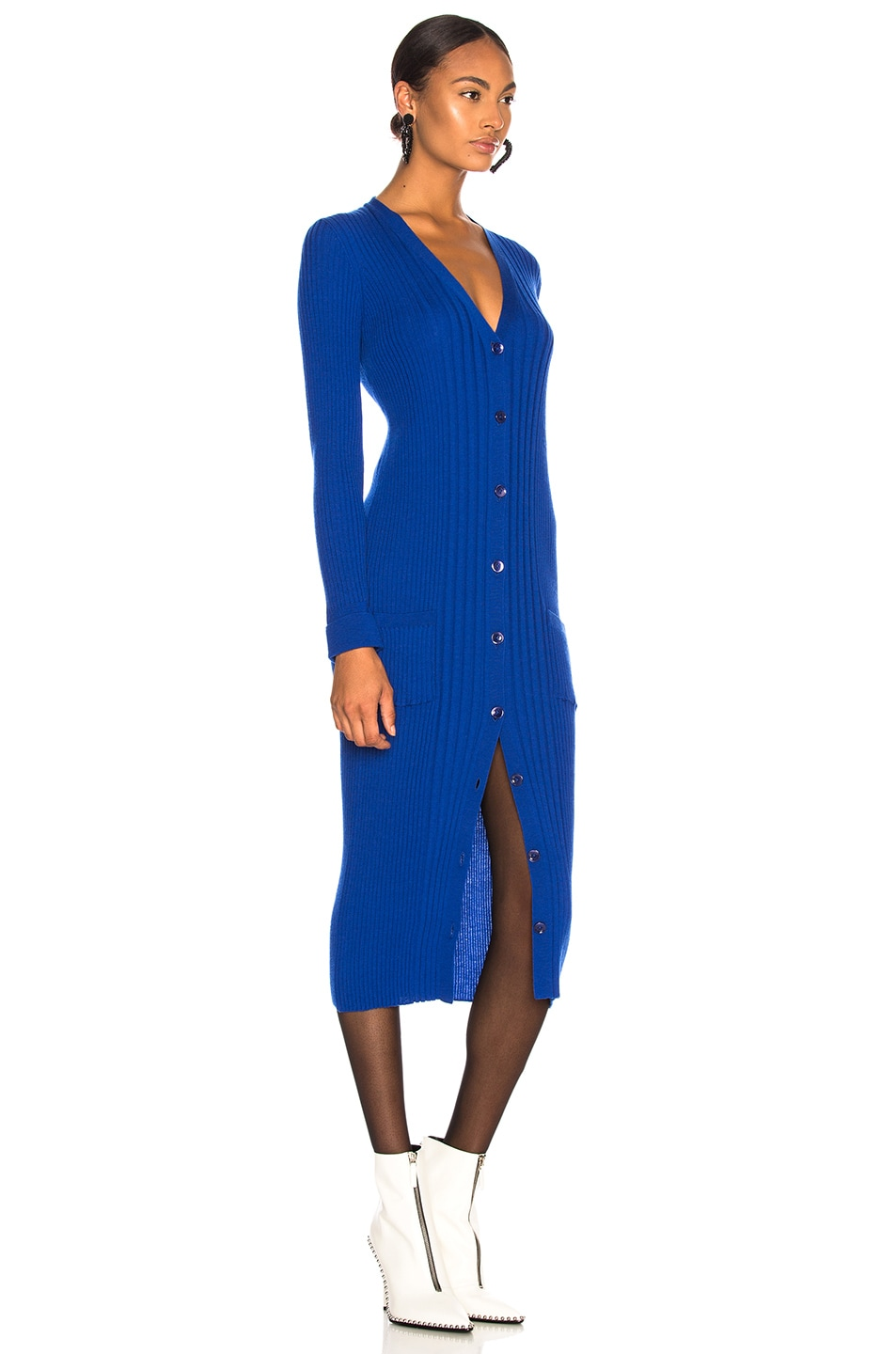 Image 2 of Maison Margiela Rib Knit Long Cardigan in Bluette