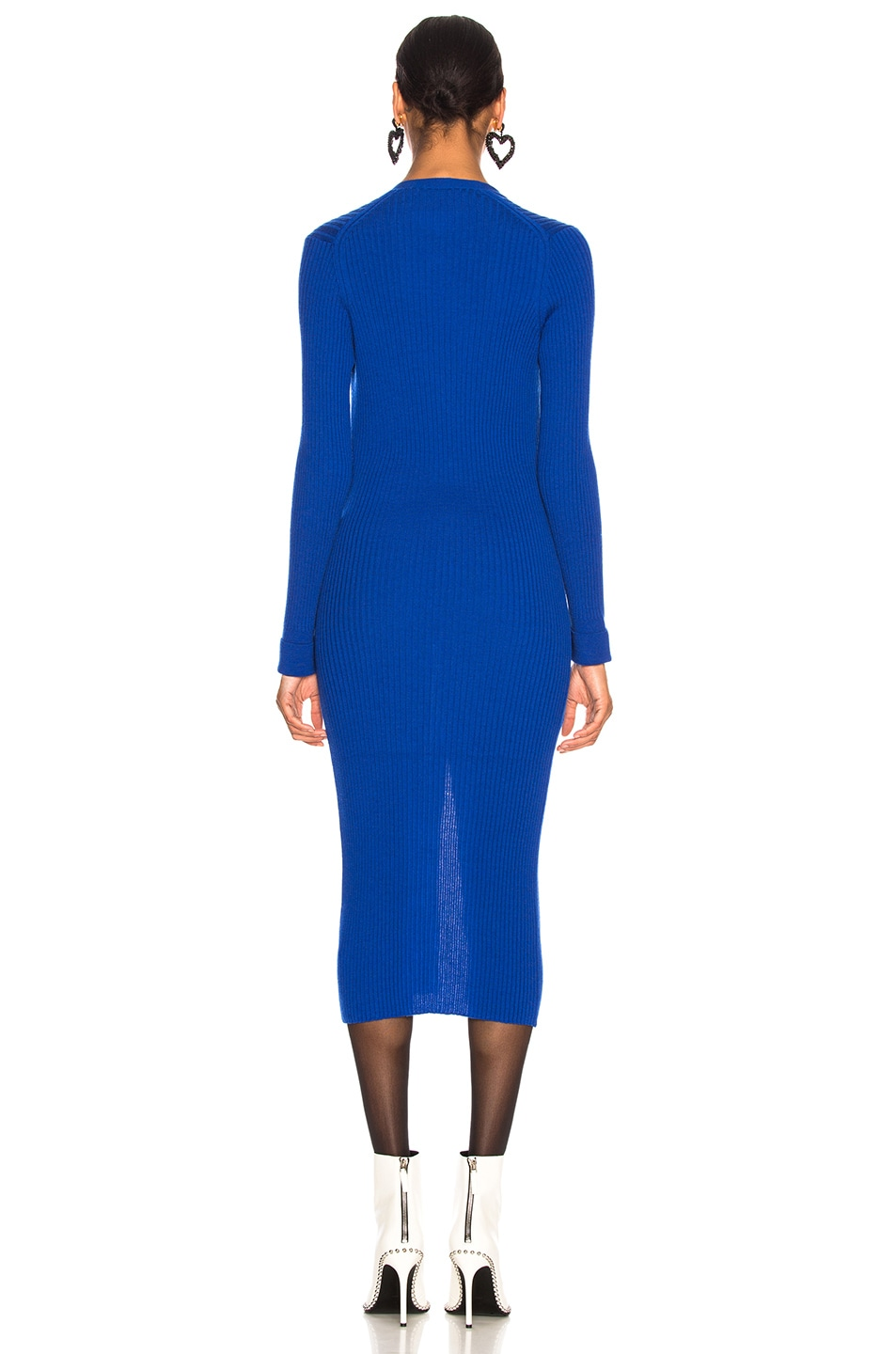 Image 3 of Maison Margiela Rib Knit Long Cardigan in Bluette