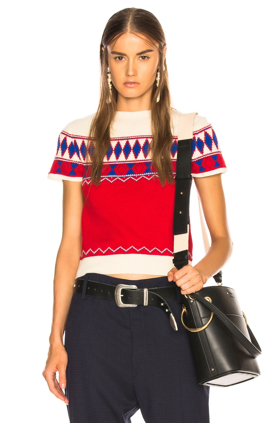 Image 1 of Maison Margiela Short Sleeve Cropped Sweater in Jacquard Red