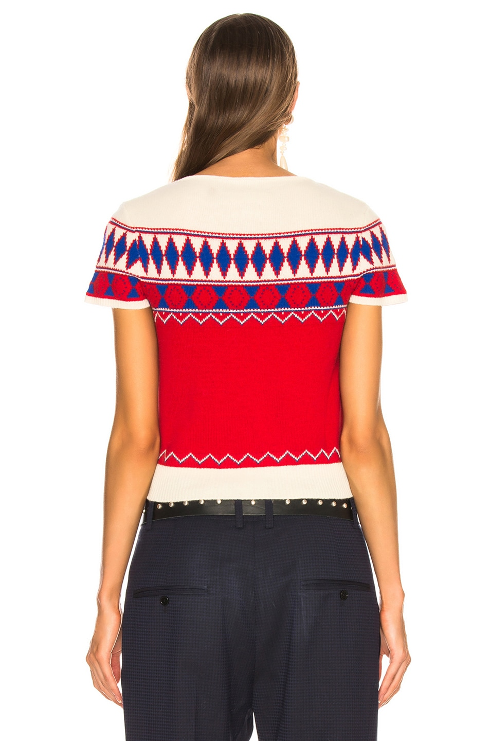 Image 3 of Maison Margiela Short Sleeve Cropped Sweater in Jacquard Red