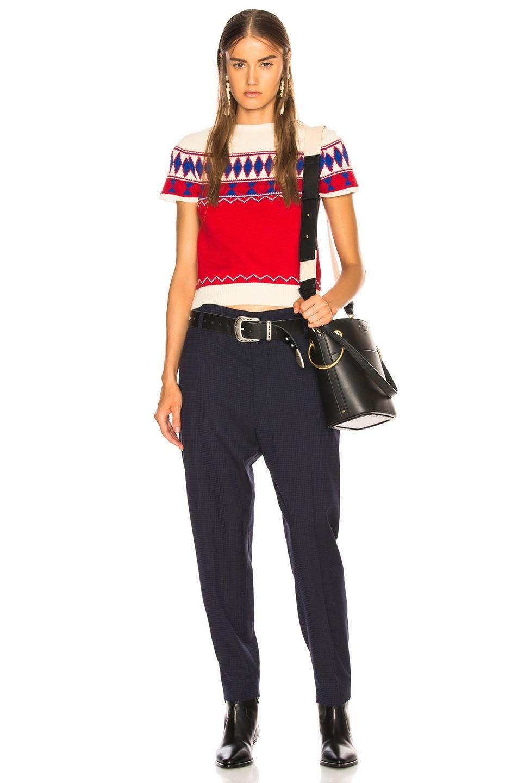 Image 4 of Maison Margiela Short Sleeve Cropped Sweater in Jacquard Red