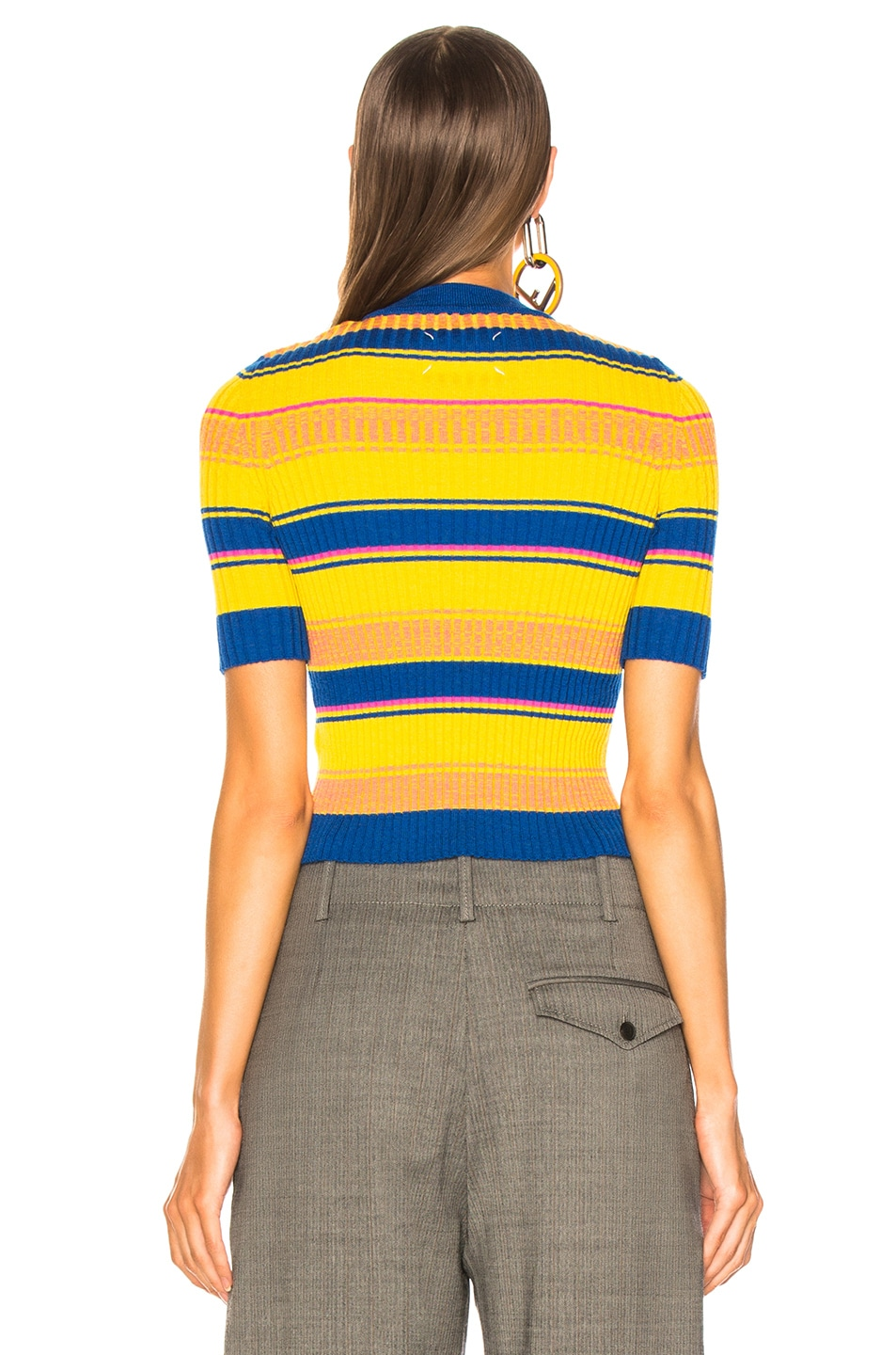 Maison Margiela Striped Short Sleeve Sweater In Blue Yellow