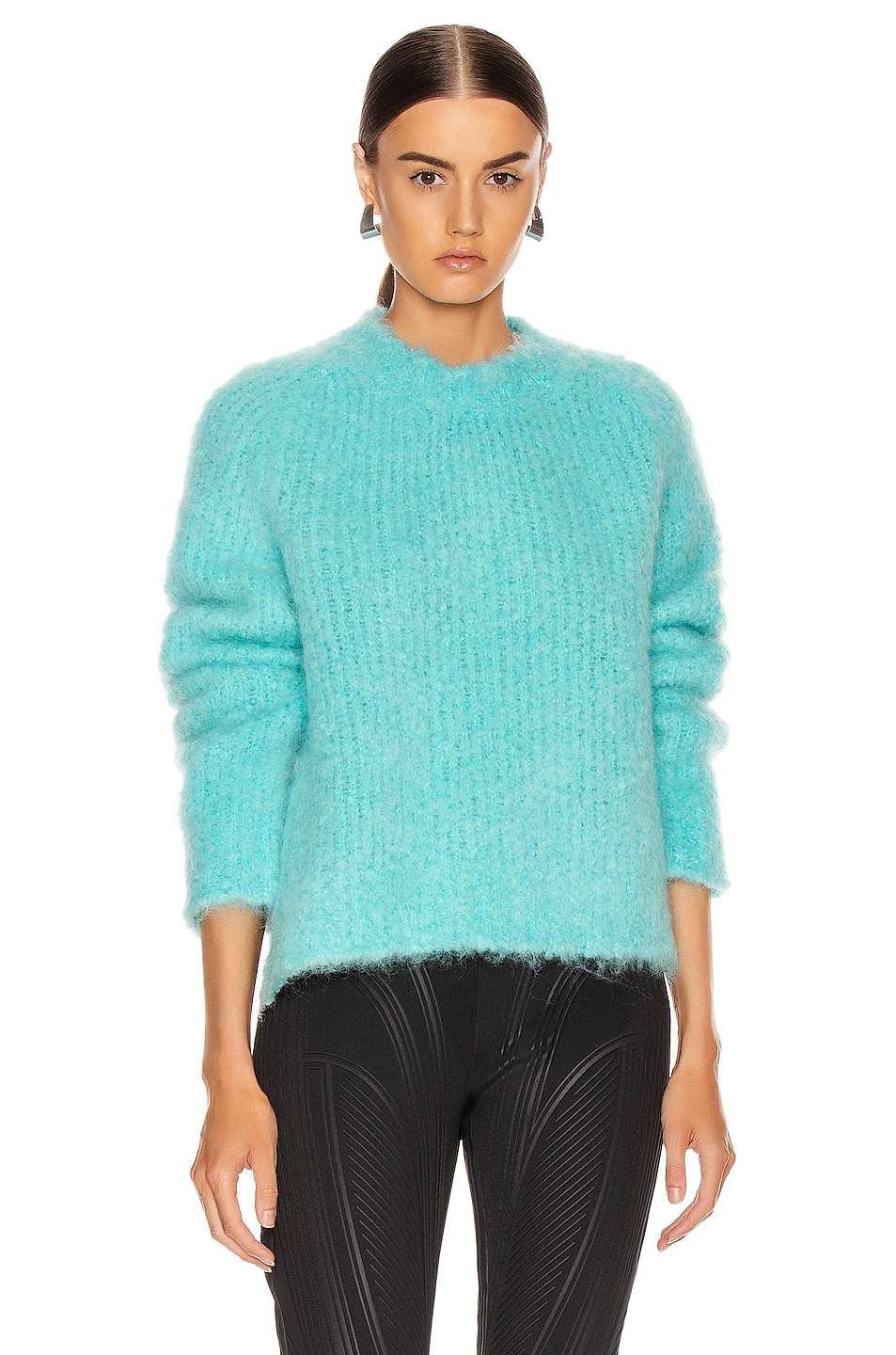 Image 1 of Maison Margiela Crewneck Mohair Sweater in Turquoise