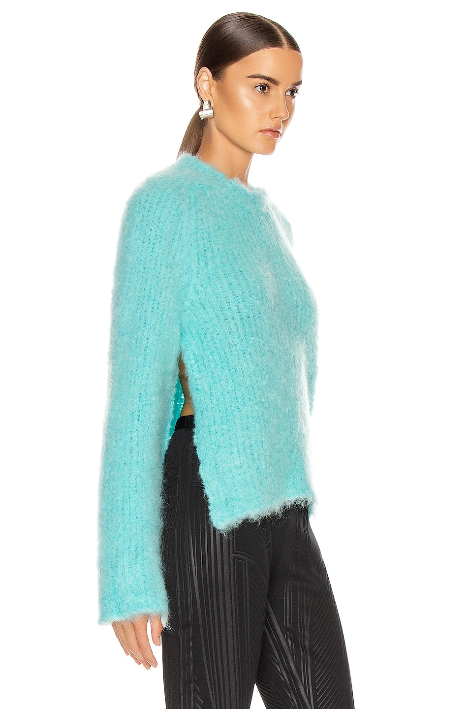 Image 2 of Maison Margiela Crewneck Mohair Sweater in Turquoise