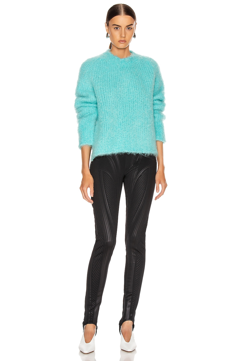 Image 4 of Maison Margiela Crewneck Mohair Sweater in Turquoise