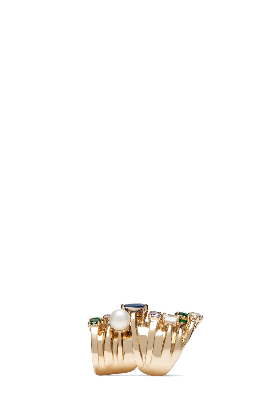 Image 2 of Maison Margiela Multi Stack Ring in Gold & Multicolor