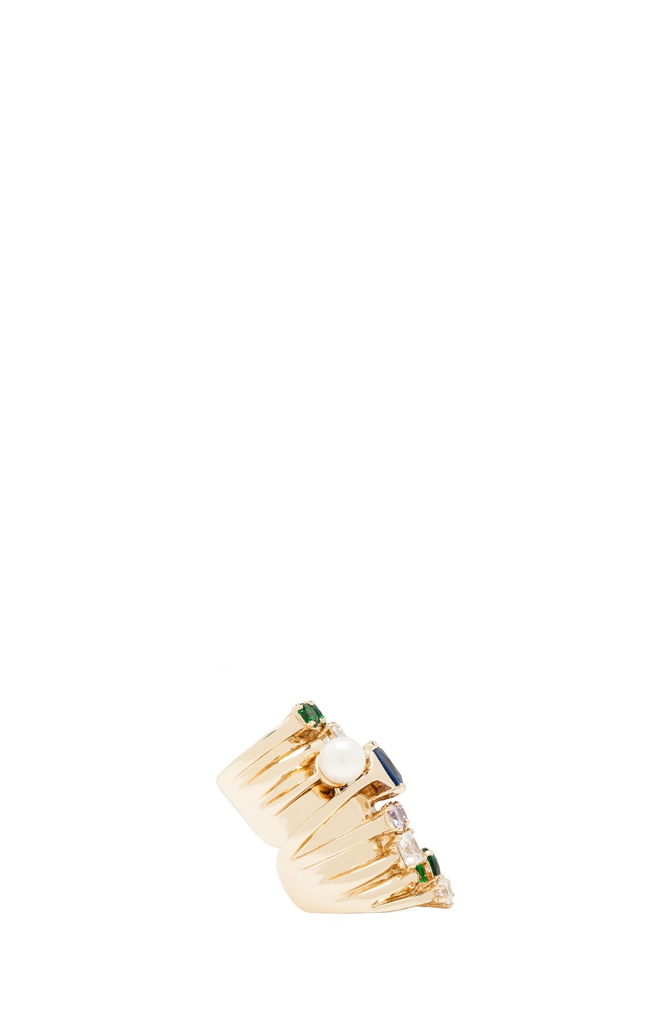 Image 3 of Maison Margiela Multi Stack Ring in Gold & Multicolor