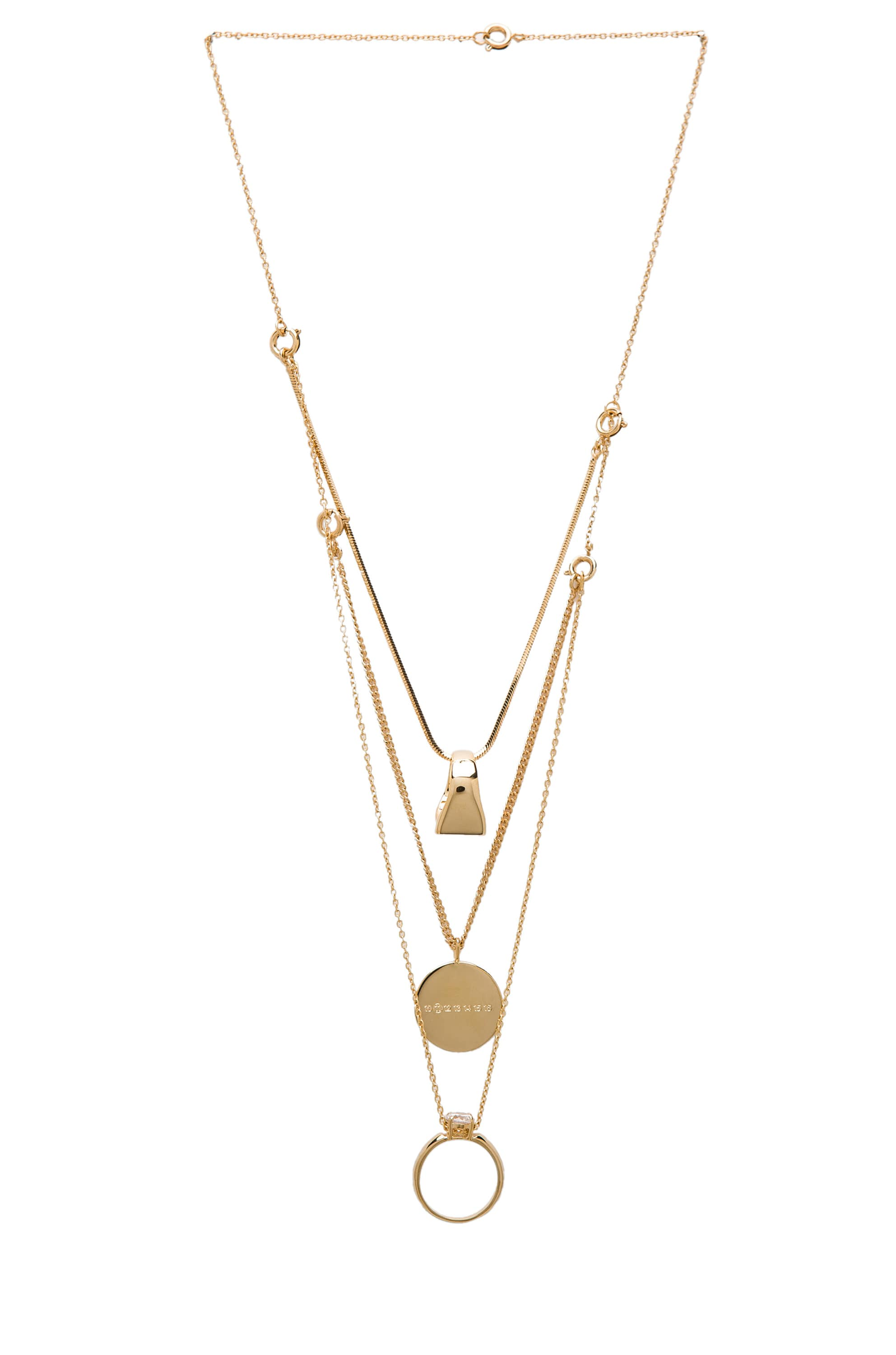 Image 1 of Maison Margiela Stacked Ring Necklace in Gold