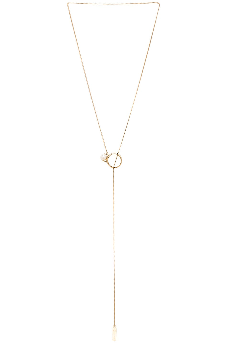 Image 1 of Maison Margiela White Pearl Necklace in Gold