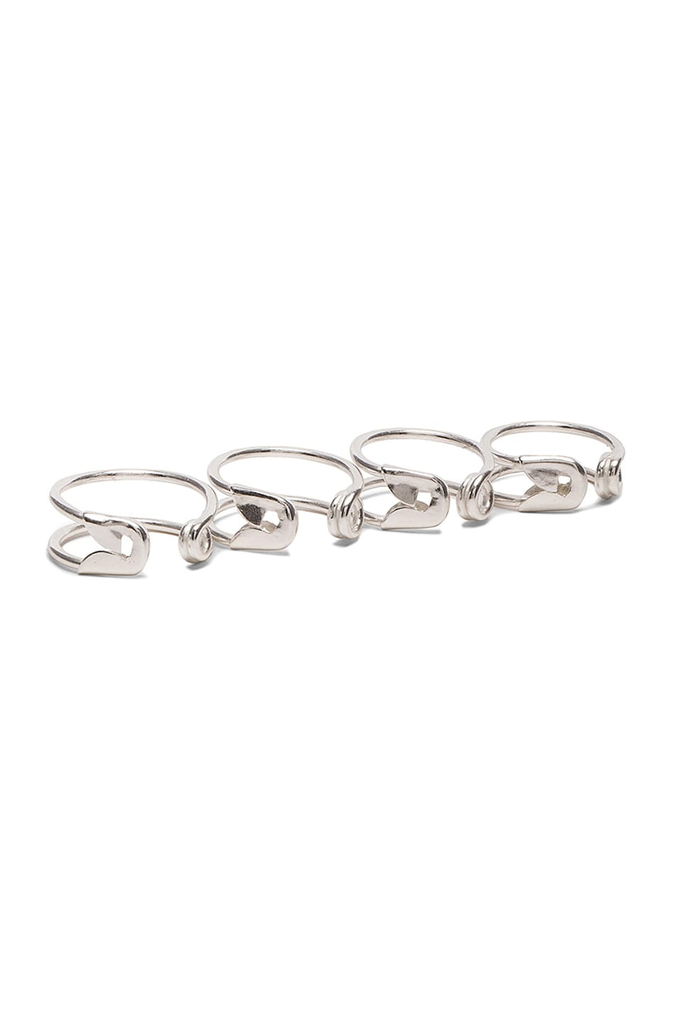 Image 1 of Maison Margiela Safety Pin Ring Set in Silver