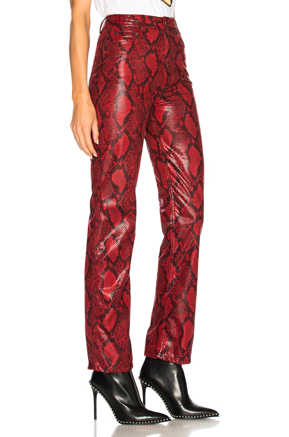 Image 2 of Maison Margiela Faux Snakeskin Pants in Lipstick