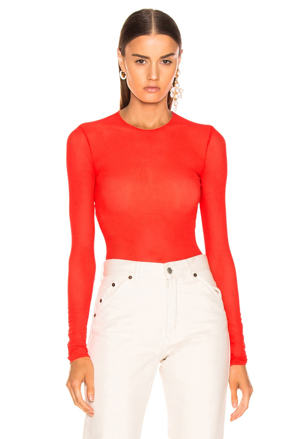 Image 1 of Maison Margiela Long Sleeve Bodysuit in Orange Fluo