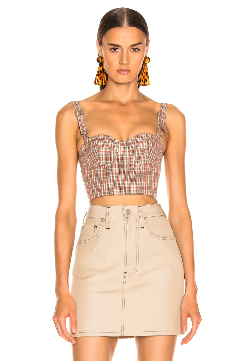 Image 1 of Maison Margiela Print Corset Top in Natural & Fluo Check