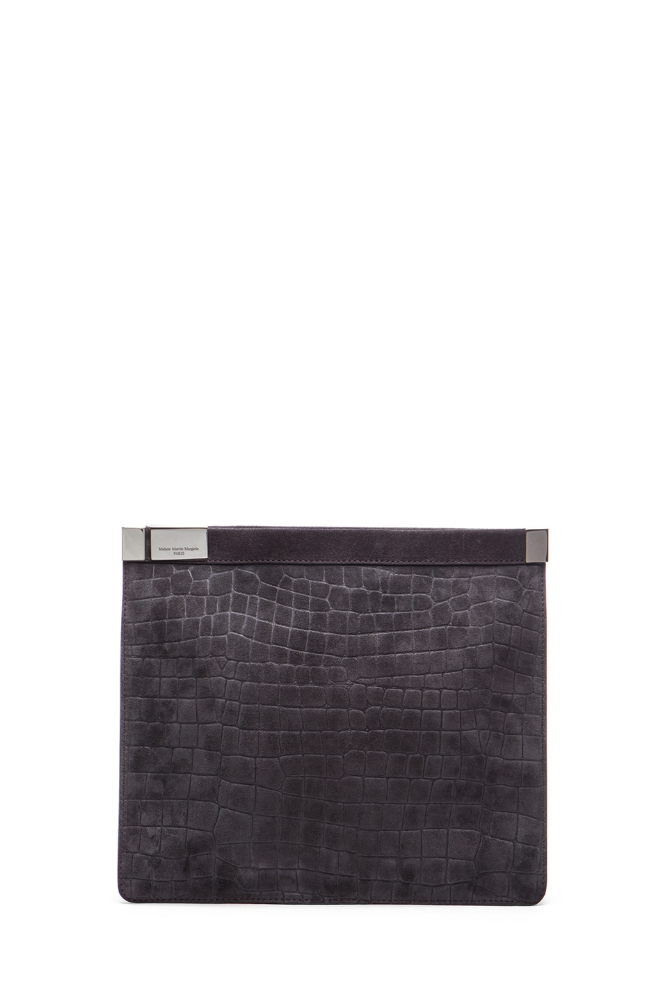 Image 1 of Maison Margiela Mini Embossed Leather Zip in Asphalt