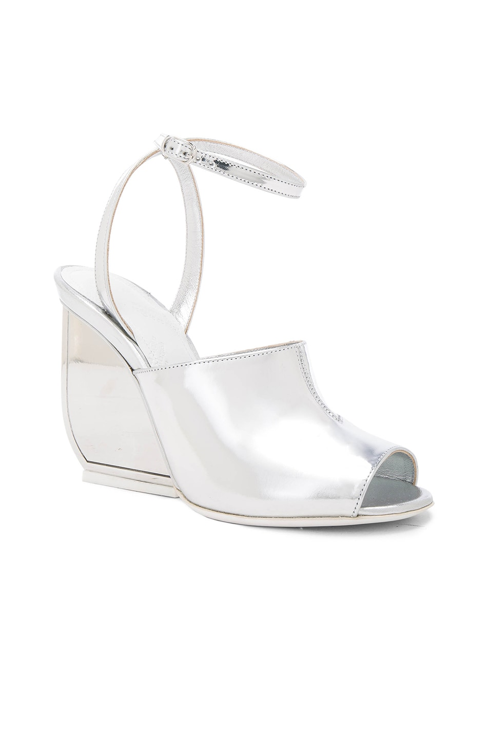 Image 2 of Maison Margiela Mirror Leather Heels in Silver