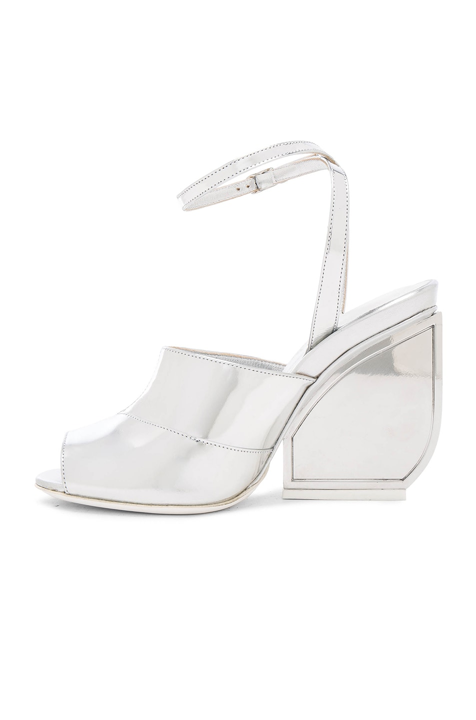 Image 5 of Maison Margiela Mirror Leather Heels in Silver