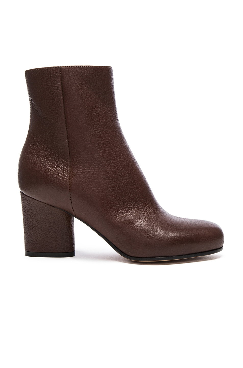 Image 1 of Maison Margiela Embossed Leather Booties in Dark Brown