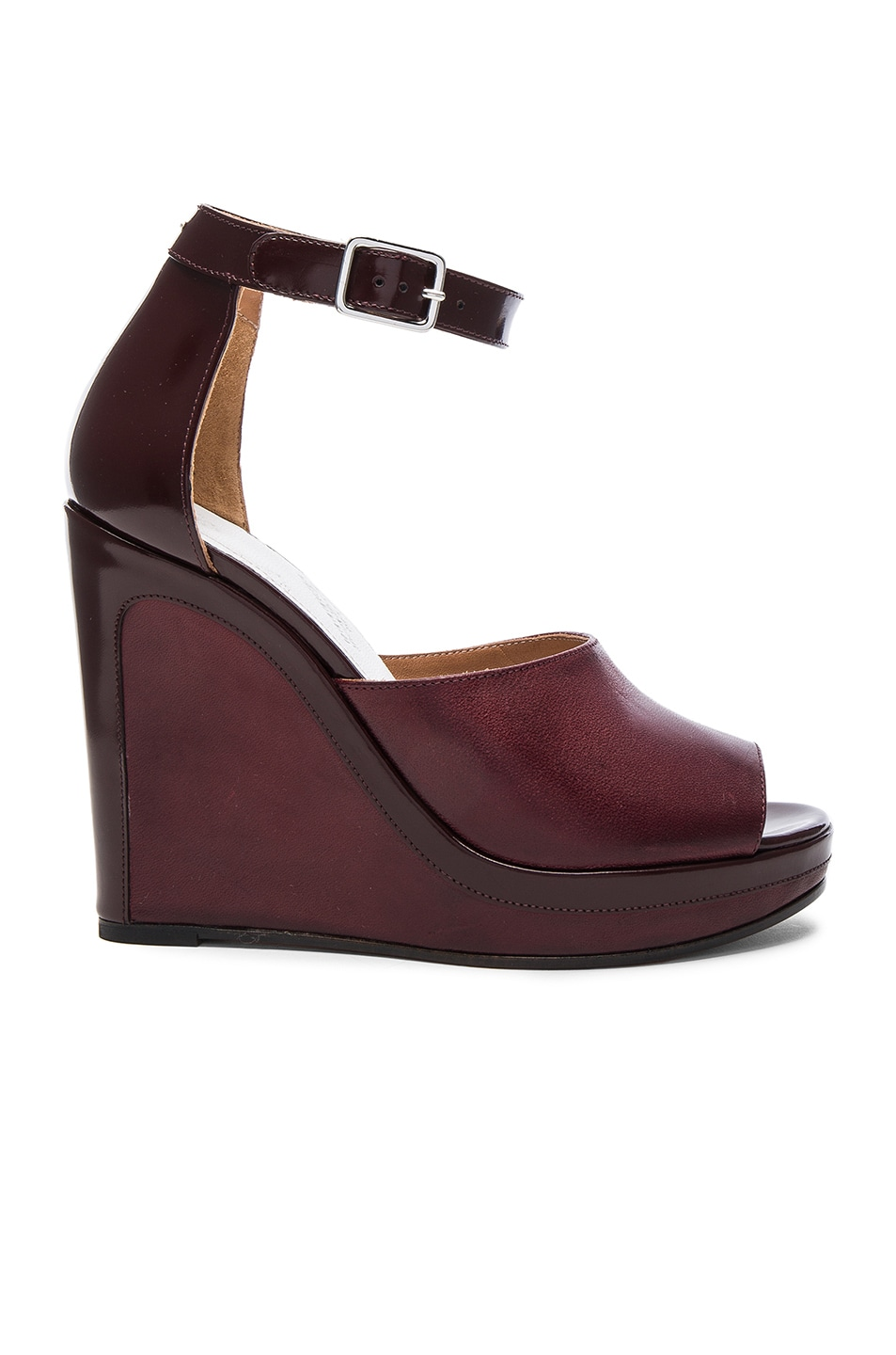 Image 1 of Maison Margiela Ankle Strap Wedges in Bordeaux