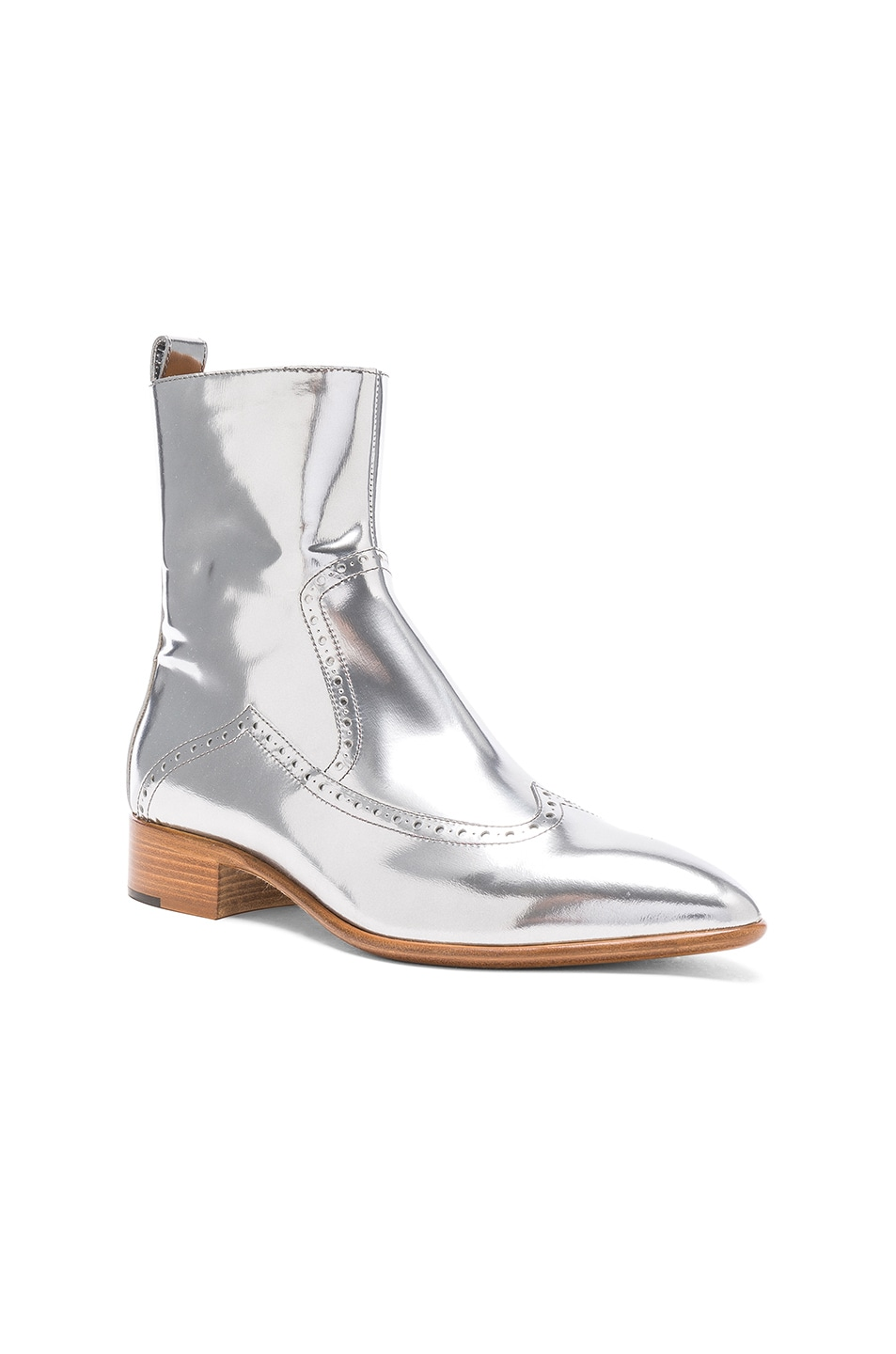 Image 2 of Maison Margiela Leather Ankle Boots in Silver