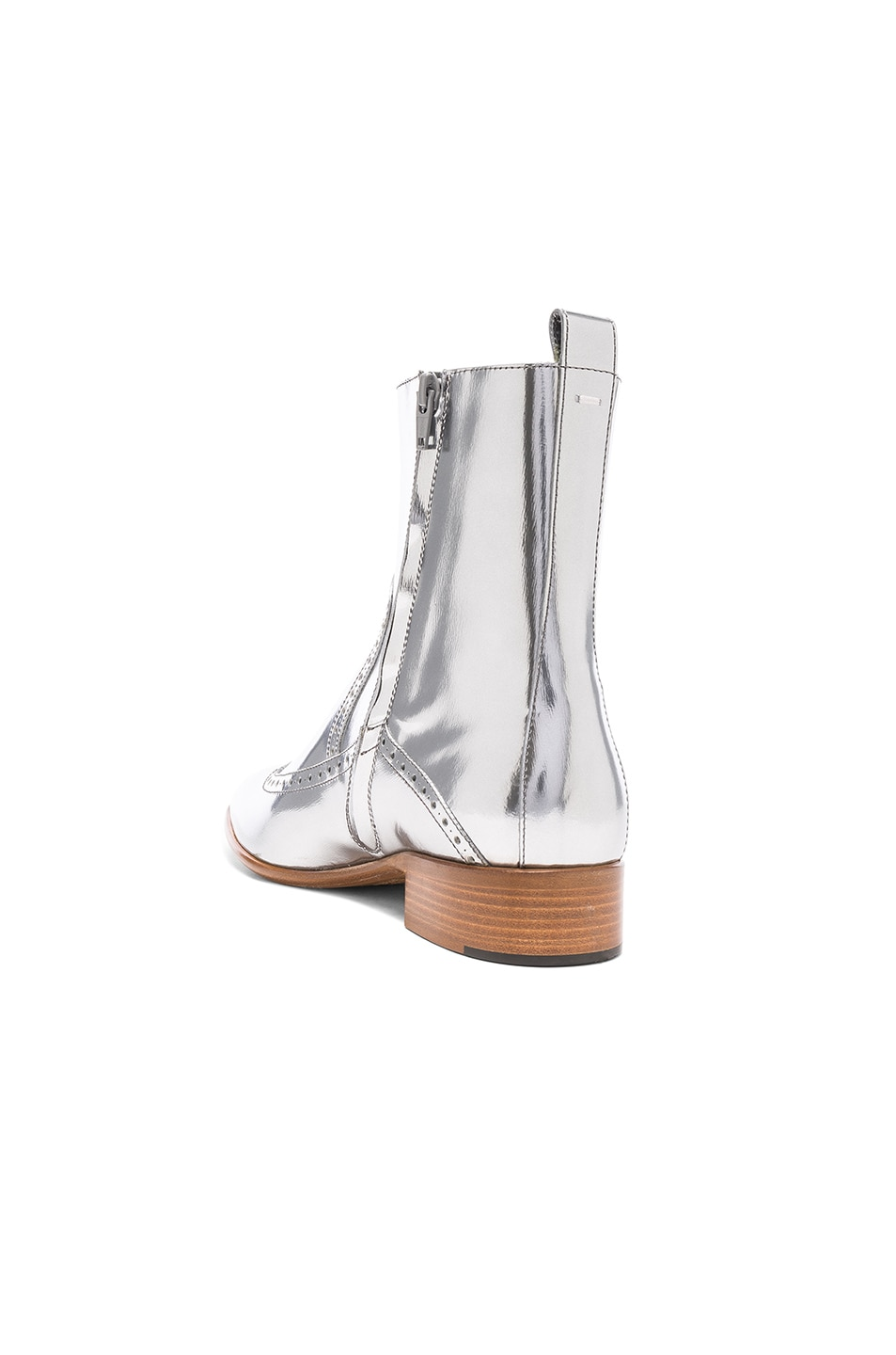 Image 3 of Maison Margiela Leather Ankle Boots in Silver