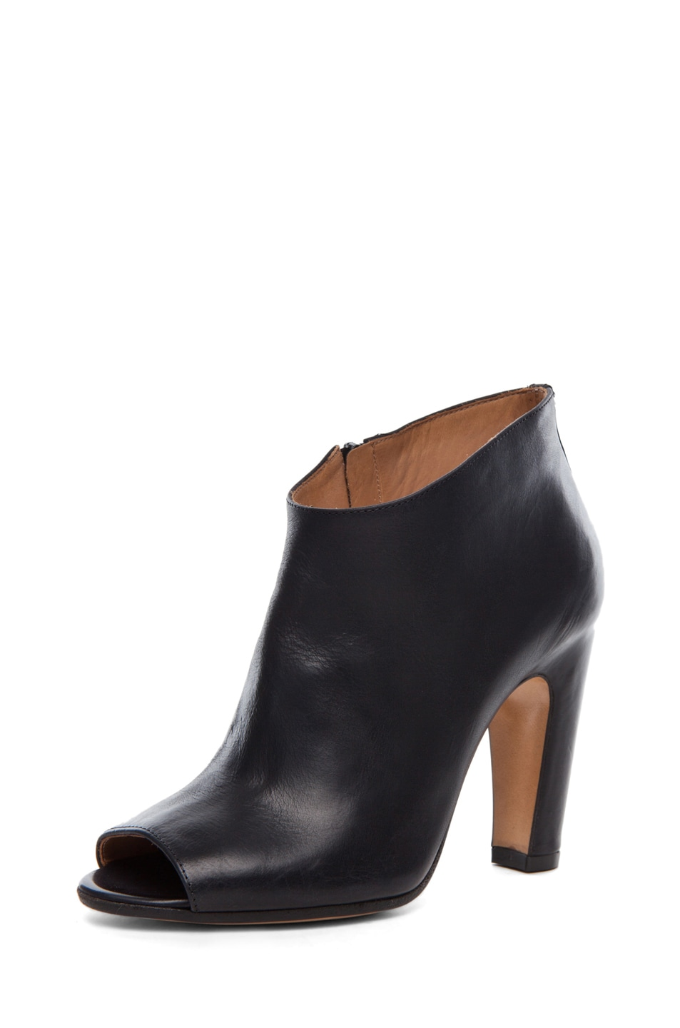 Image 2 of Maison Margiela Leather Open Toe Booties in Black