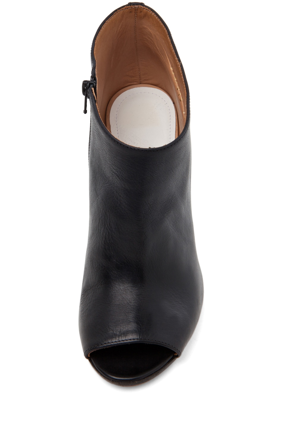 Image 4 of Maison Margiela Leather Open Toe Booties in Black
