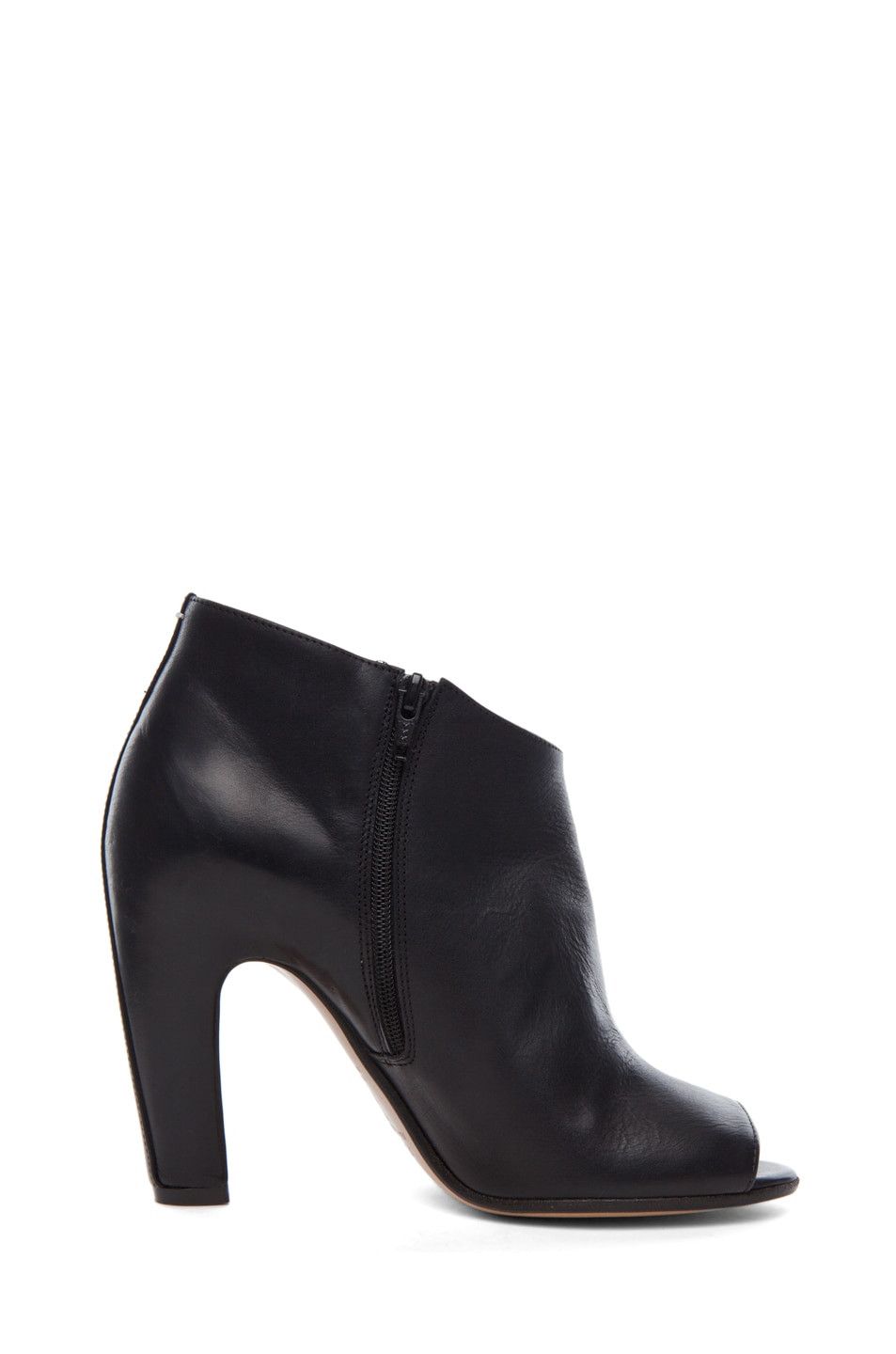 Image 5 of Maison Margiela Leather Open Toe Booties in Black