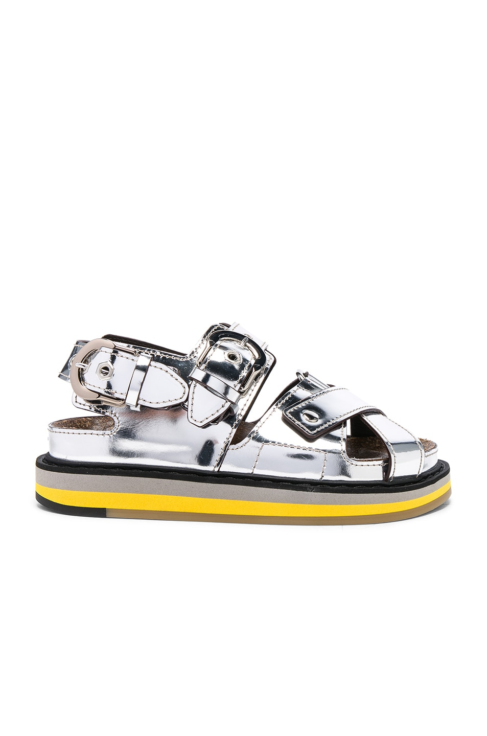 Image 1 of Maison Margiela Mirror Leather Sandals in Silver