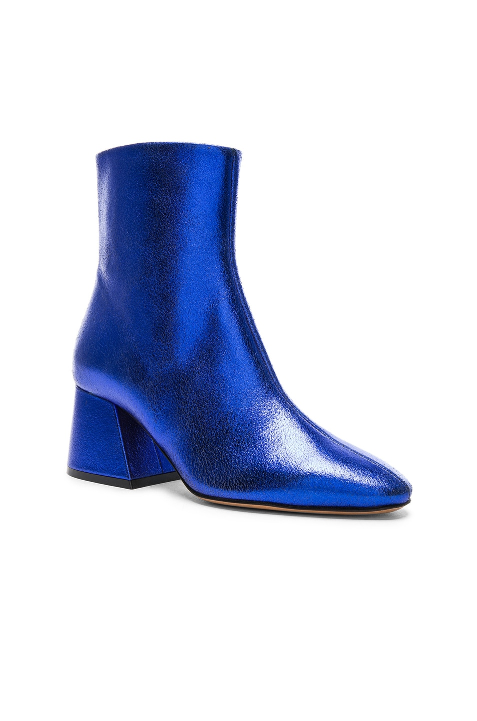 Image 2 of Maison Margiela Laminated Leather Chunky Heel Boots in Cobalt
