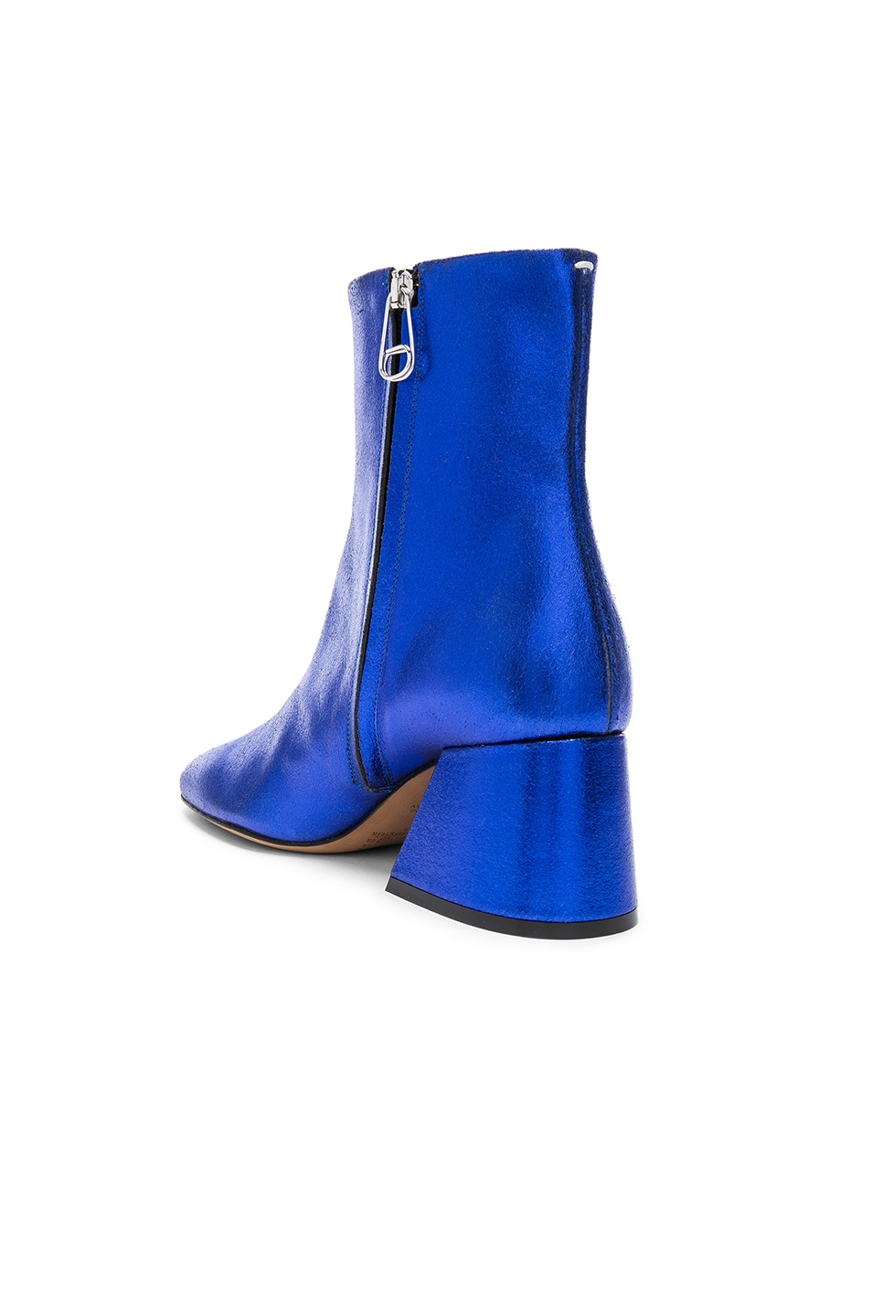 Image 3 of Maison Margiela Laminated Leather Chunky Heel Boots in Cobalt