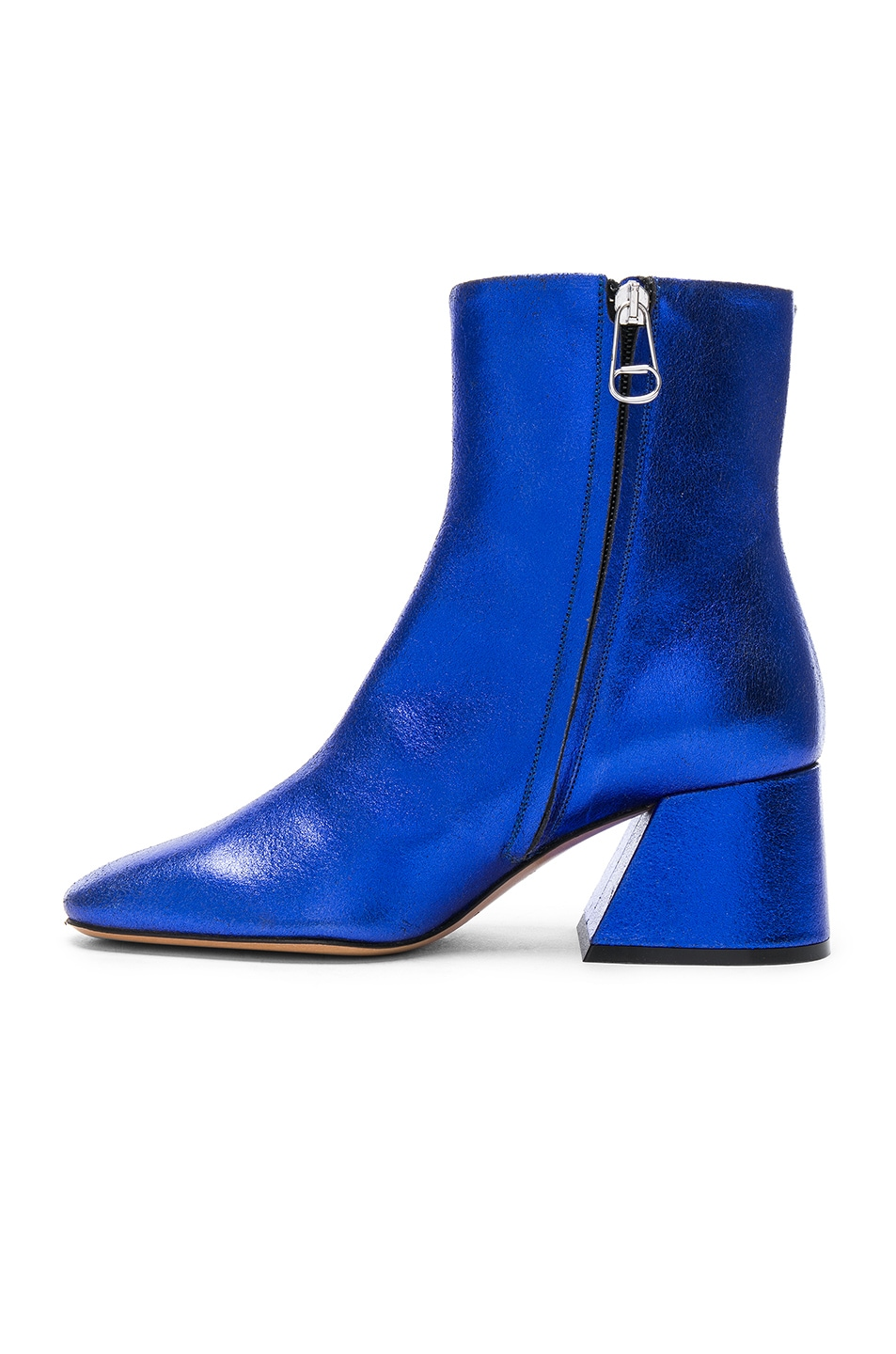 Image 5 of Maison Margiela Laminated Leather Chunky Heel Boots in Cobalt