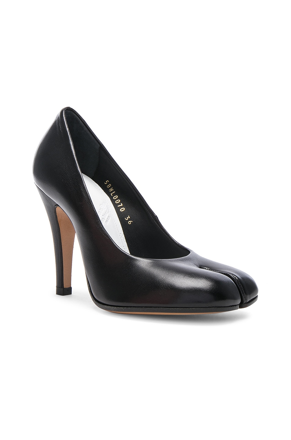 Image 2 of Maison Margiela Leather Tabi Heels in Black