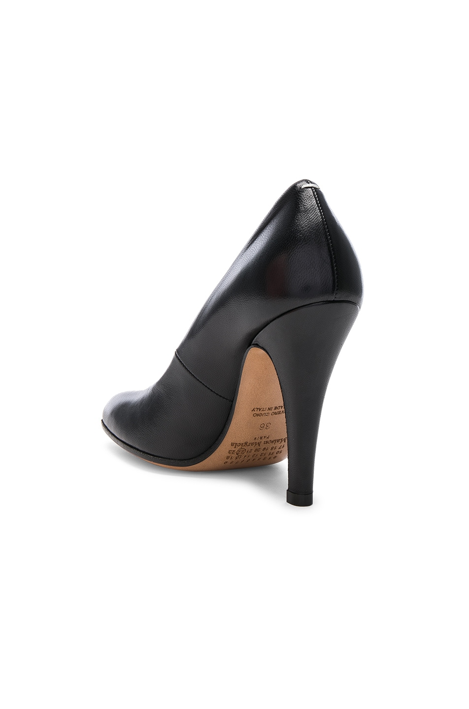 Image 3 of Maison Margiela Leather Tabi Heels in Black