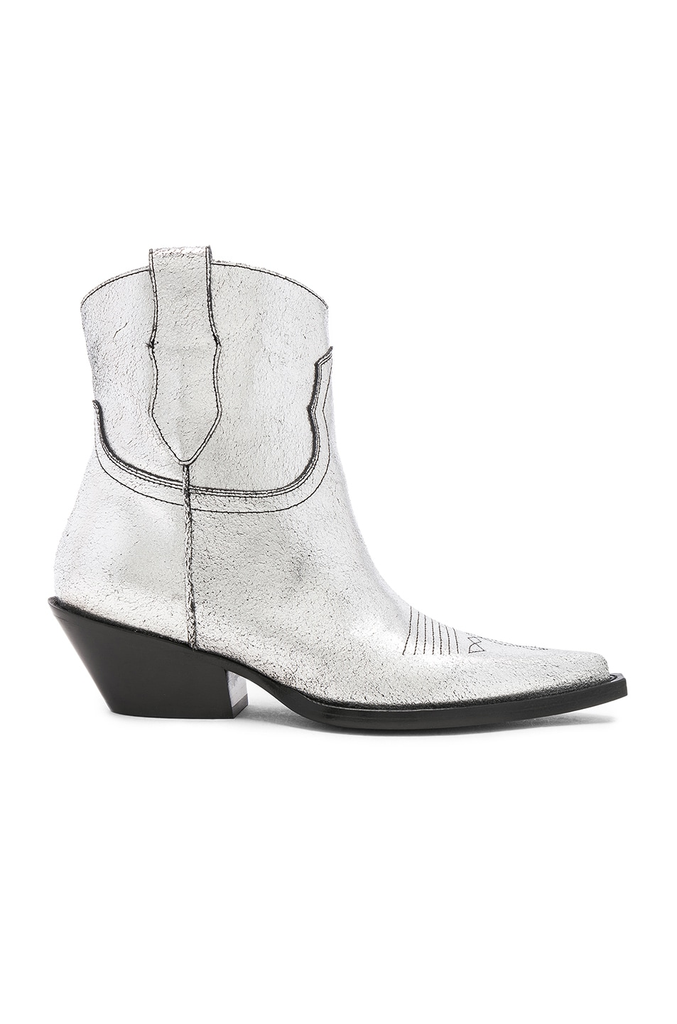 Image 1 of Maison Margiela Metallic Short Western Boots in Silver Birch & Black
