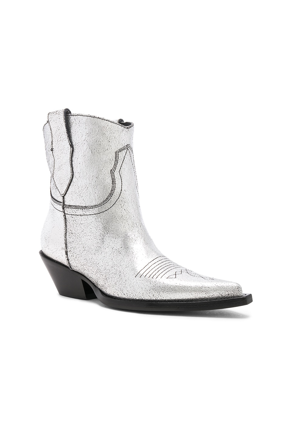 Image 2 of Maison Margiela Metallic Short Western Boots in Silver Birch & Black