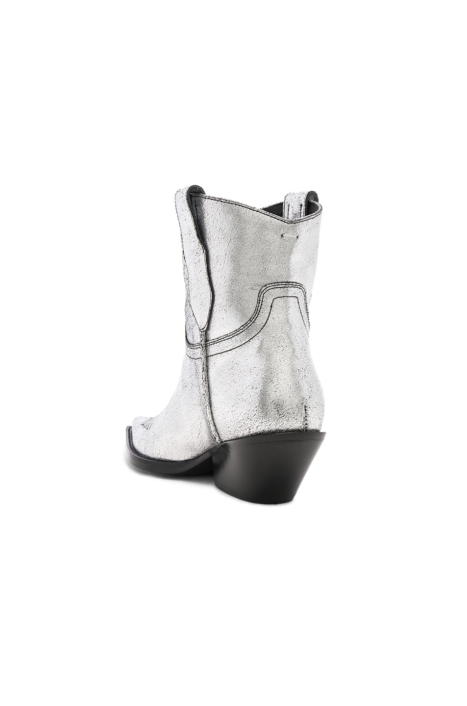 Image 3 of Maison Margiela Metallic Short Western Boots in Silver Birch & Black