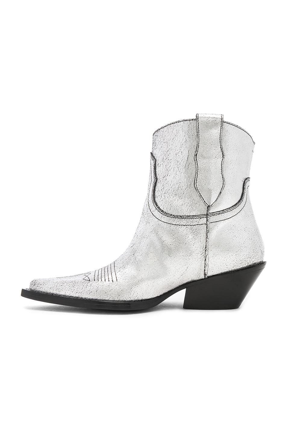 Image 5 of Maison Margiela Metallic Short Western Boots in Silver Birch & Black
