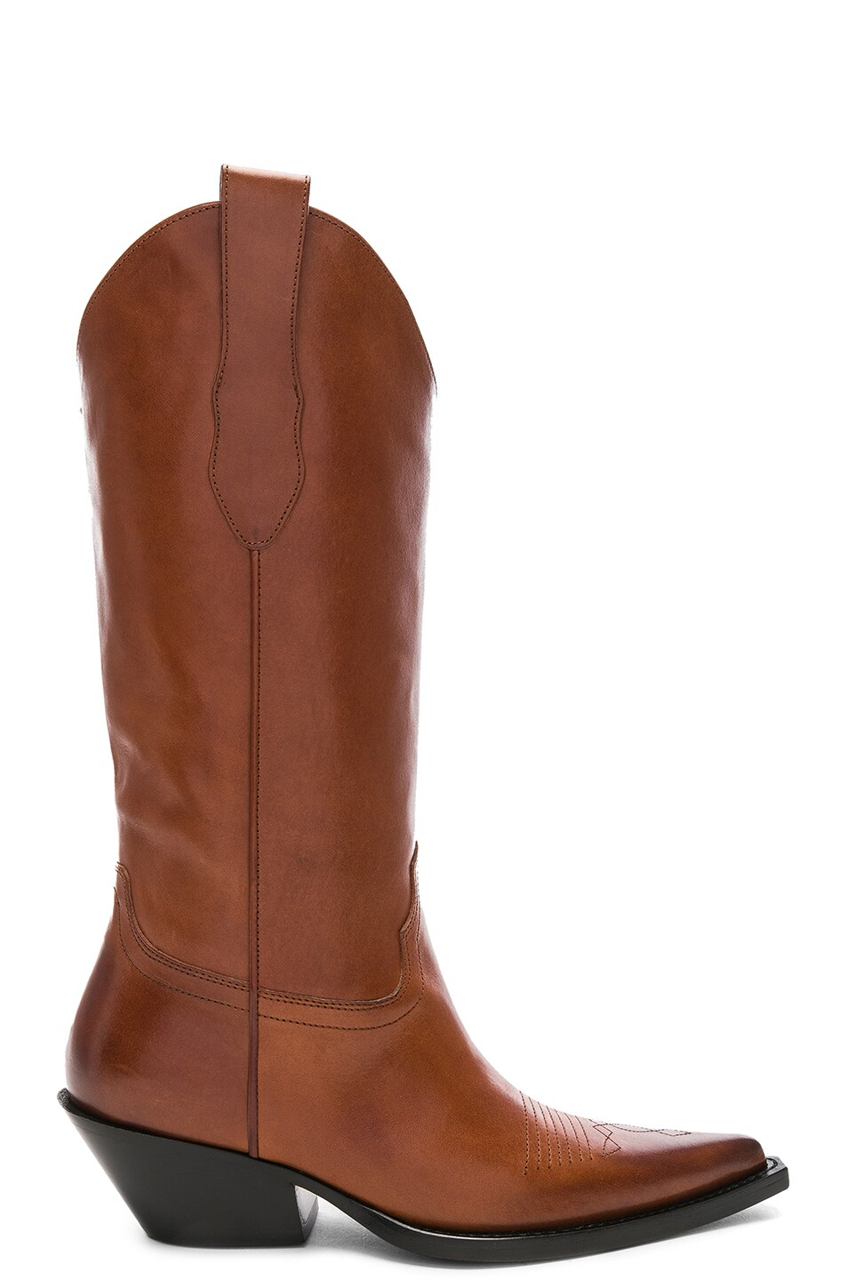 Image 1 of Maison Margiela Mid Leather Western Boots in Tobacco Brown