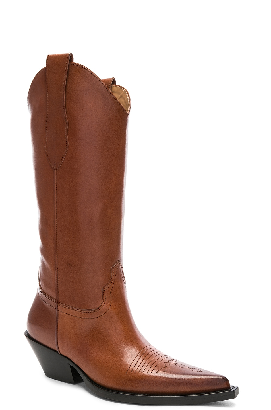 Image 2 of Maison Margiela Mid Leather Western Boots in Tobacco Brown