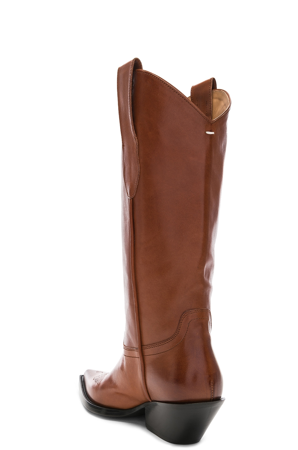 Image 3 of Maison Margiela Mid Leather Western Boots in Tobacco Brown
