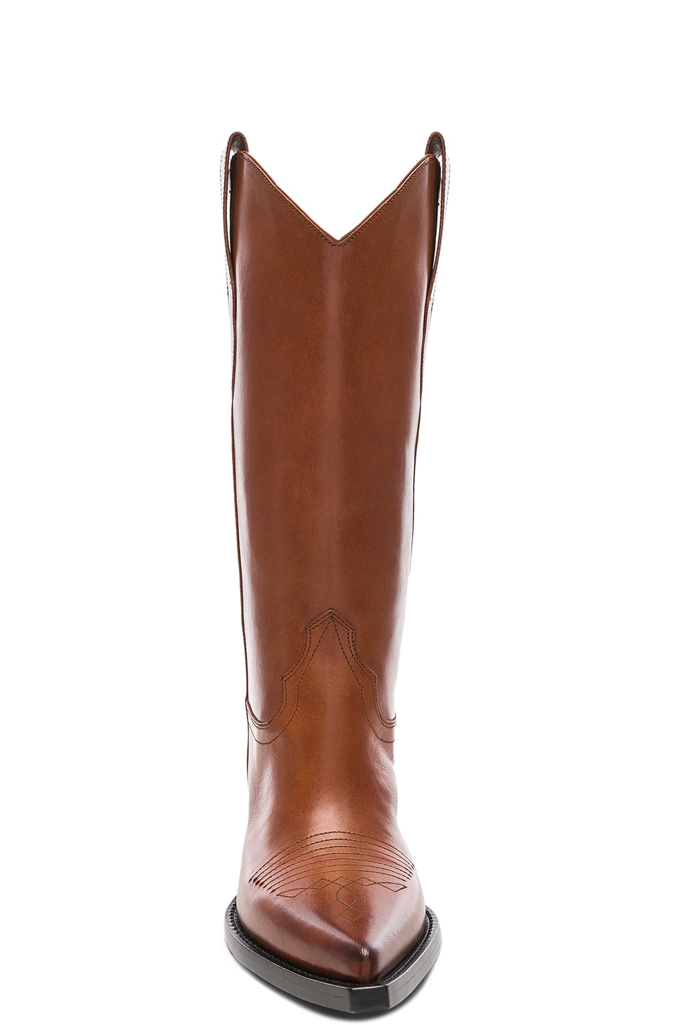 Image 4 of Maison Margiela Mid Leather Western Boots in Tobacco Brown