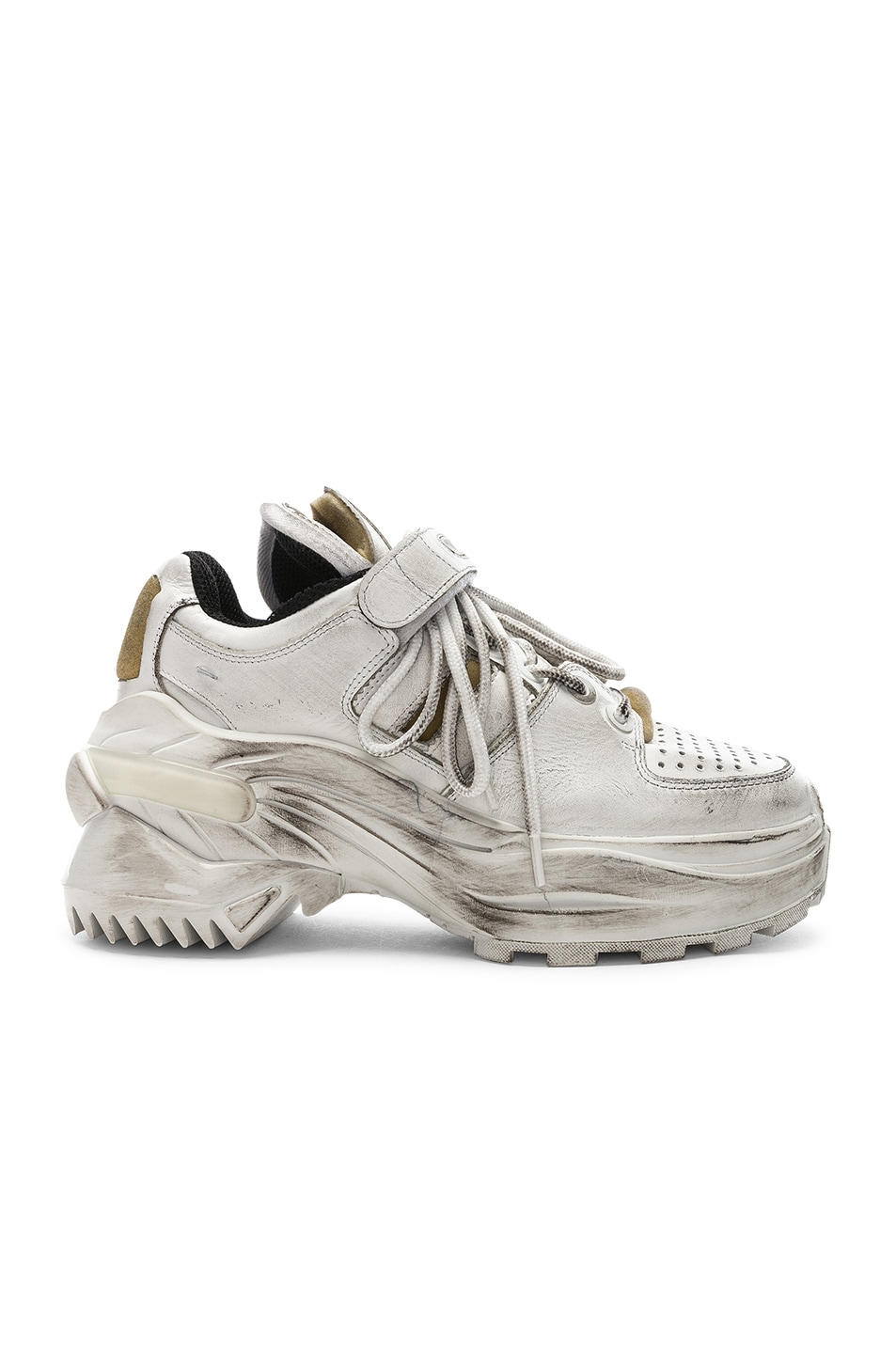 Image 1 of Maison Margiela Leather Sneakers in White & Black Raven