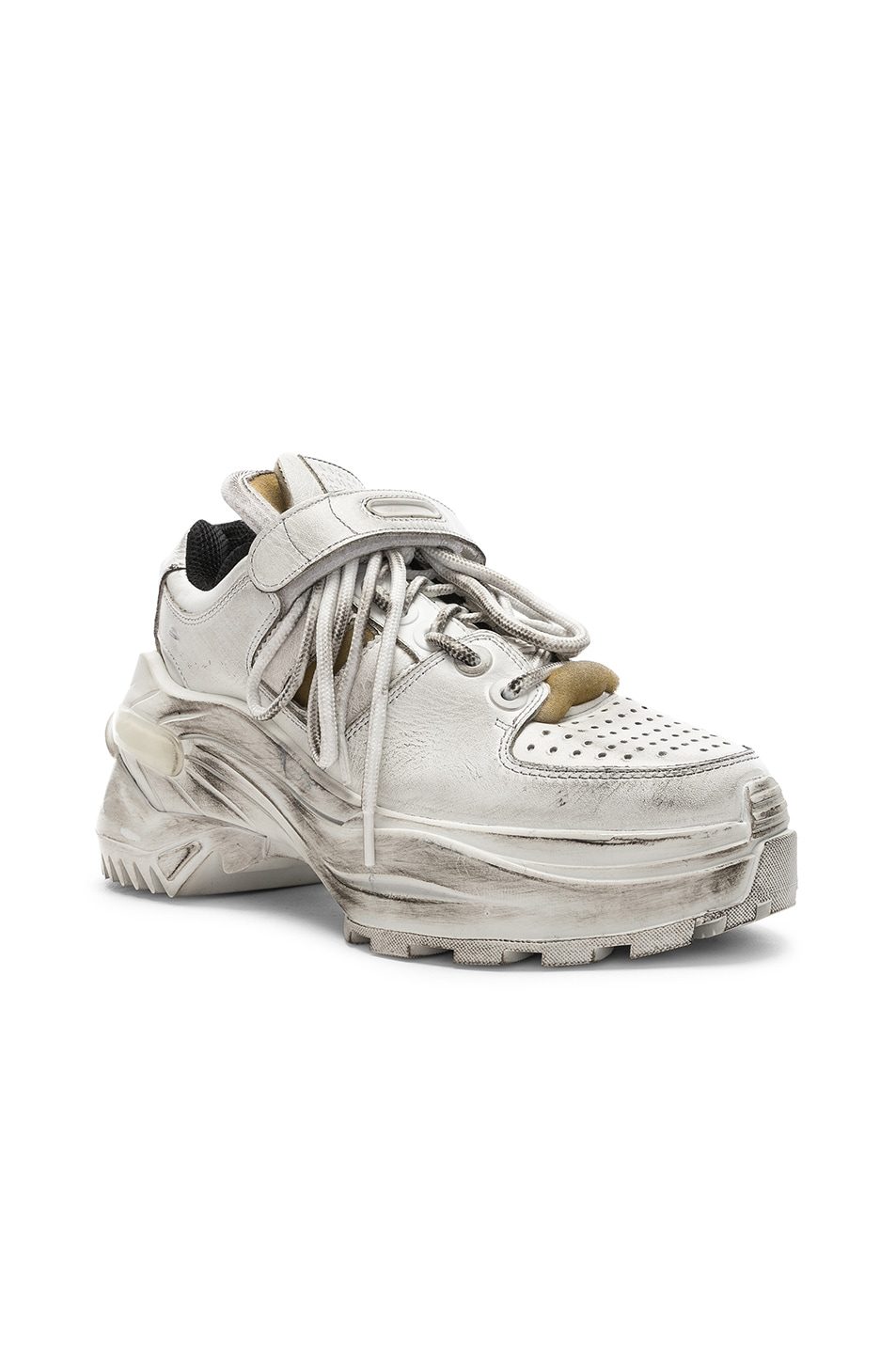 Image 2 of Maison Margiela Leather Sneakers in White & Black Raven