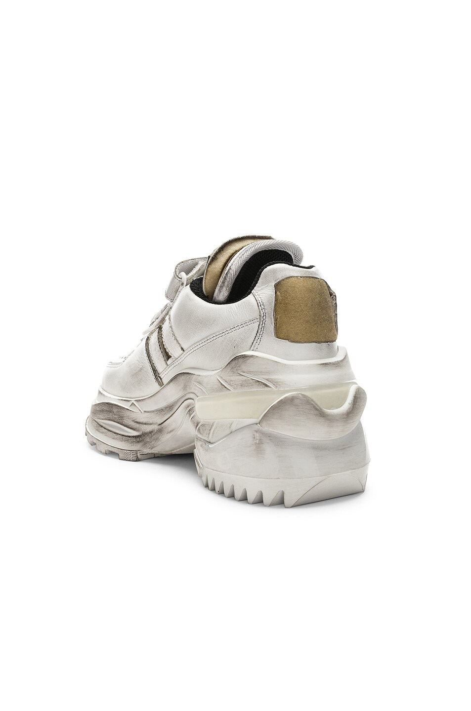 Image 3 of Maison Margiela Leather Sneakers in White & Black Raven