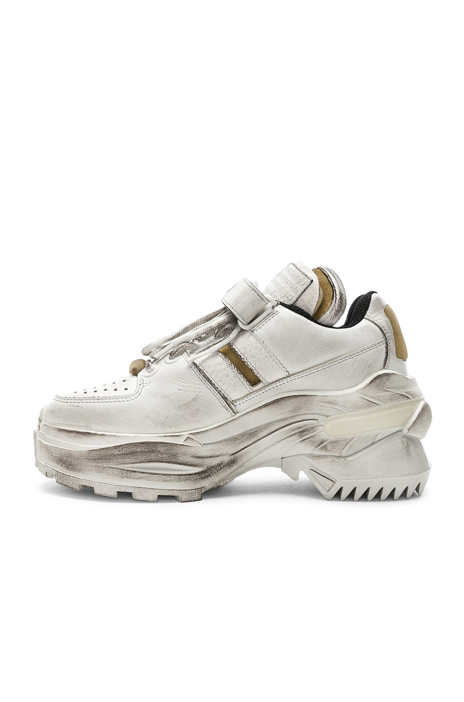 Image 5 of Maison Margiela Leather Sneakers in White & Black Raven
