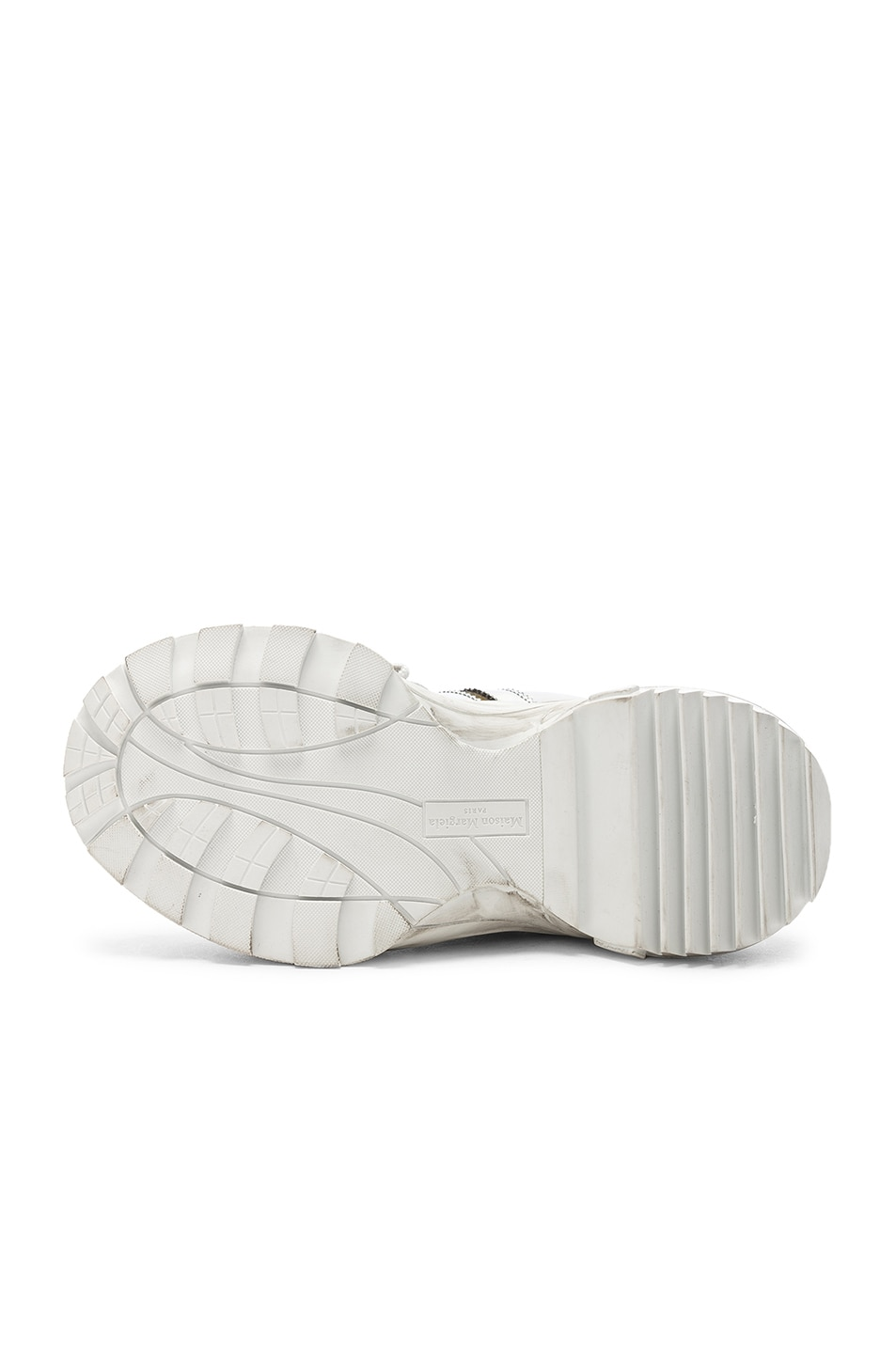 Image 6 of Maison Margiela Leather Sneakers in White & Black Raven