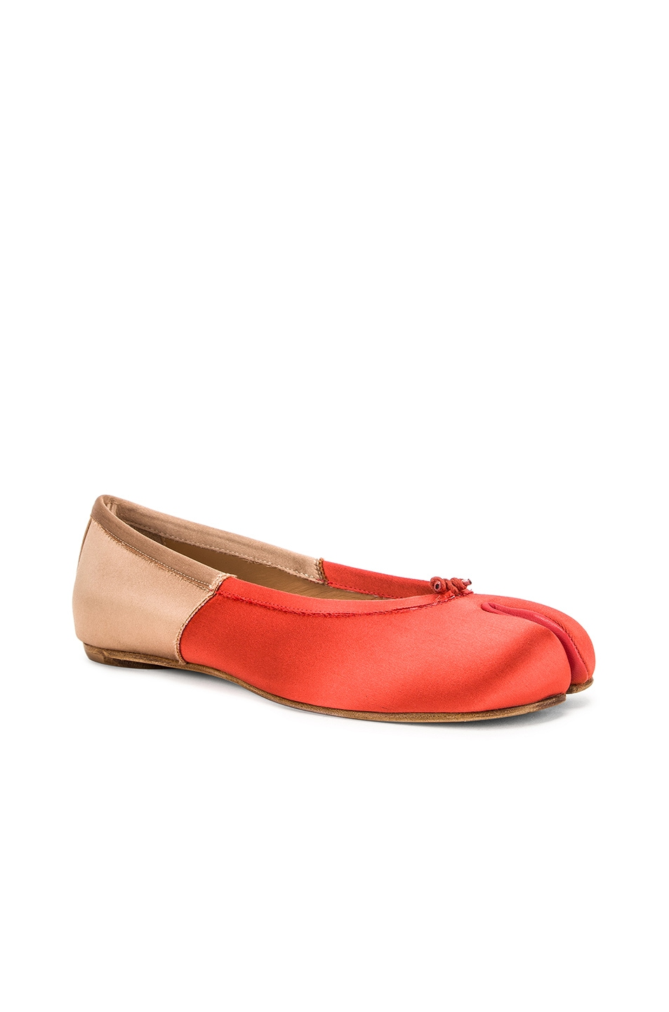 Image 2 of Maison Margiela Colorblock Ballerina Flat in Coral & Light Pink