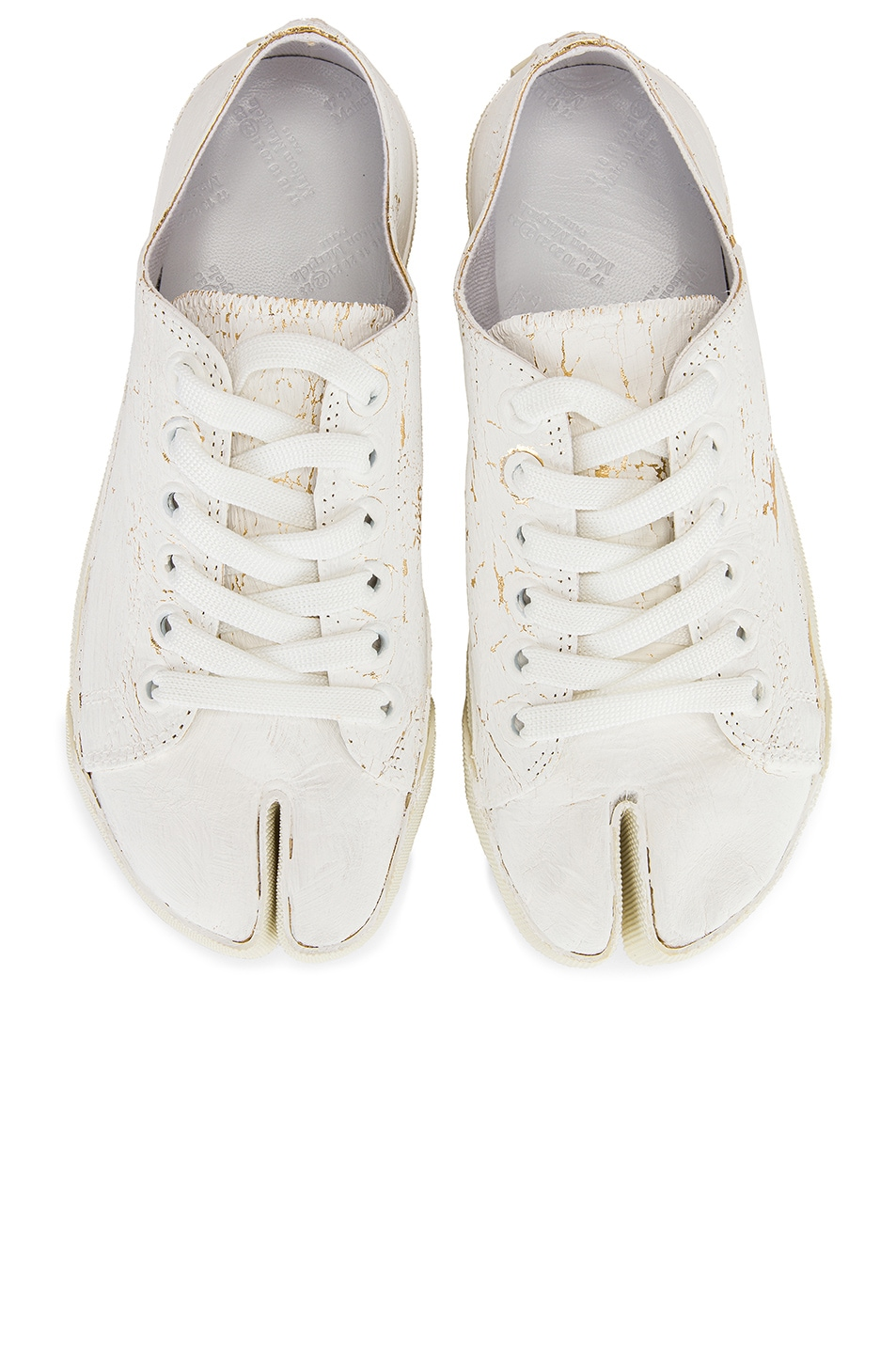 Image 1 of Maison Margiela Low Top Tabi Sneakers in White & Gold