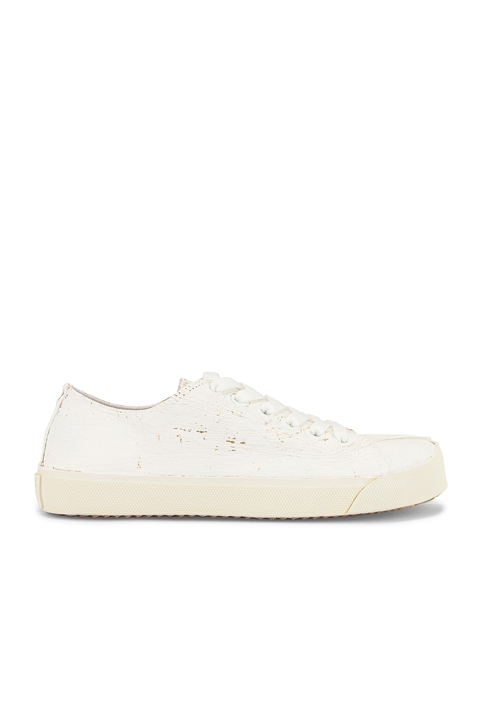 Image 2 of Maison Margiela Low Top Tabi Sneakers in White & Gold