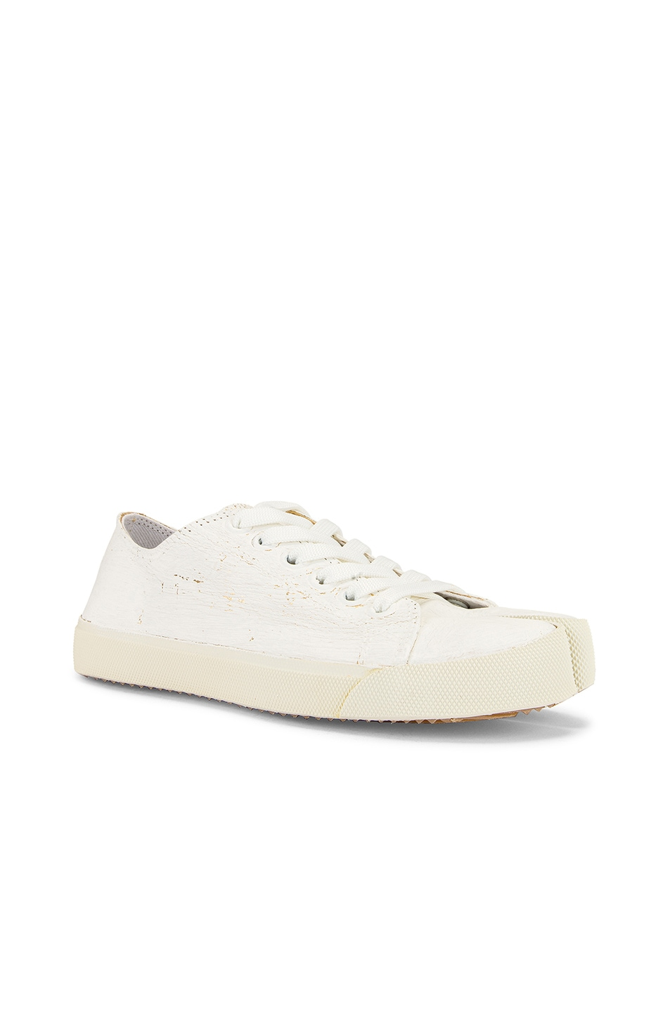 Image 3 of Maison Margiela Low Top Tabi Sneakers in White & Gold
